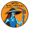 Ugly sexy witch halloween hand drawn illustration of an with a spiral rod round image with a portrait of a blue monster in a dress Royalty Free Stock Image