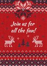 Ugly sweater Christmas party invite. Knitted background pattern