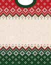 Ugly sweater Merry Christmas ornament scandinavian style knitted background frame border Royalty Free Stock Photo