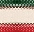 Ugly sweater Merry Christmas ornament scandinavian style knitted background seamless frame border Royalty Free Stock Photo