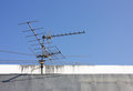 Uhf antenna on building apartment yaki dipole Stock Image