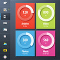 Ui design illustration chart whit side user control icons Royalty Free Stock Image