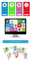 Ui infographics and web elements including flat design vector illustration Royalty Free Stock Photos