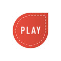 UI interface red button play icon vector illustration.
