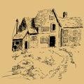 Uit de vrije hand pen en inktplattelandshuisjehuis Royalty-vrije Stock Afbeeldingen