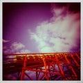 Uitstekende foto van achtbaan met cabines omhoog rubriek Royalty-vrije Stock Fotografie