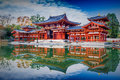Uji kyoto japan famous byodo in buddhist temple a unesco wo world heritage site phoenix hall building Royalty Free Stock Images