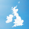 Uk cloud map floating in the sky Royalty Free Stock Photography