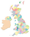 Uk counties a map of the united kingdom containing all the and administrative areas as individual selectable areas in the Stock Photography