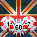 Uk and England bingo balls and union jack flag Royalty Free Stock Photo