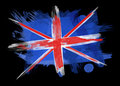 UK Flag in Black Background Stock Image