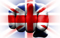 Uk flag fist front view of punching union jack Stock Photos
