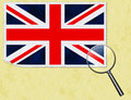 UK flag postcard under the magnifying glass Royalty Free Stock Image