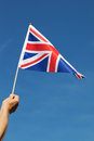 Uk flag united kingdom in hand Royalty Free Stock Photos