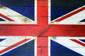 UK flag on wooden wall Stock Photo