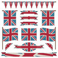 Uk flags and ribbons set of aged united kingdom banners isolated on white Royalty Free Stock Image