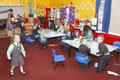 Uk infant school classroom with children Royalty Free Stock Photo