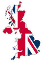 UK map with flag Stock Photo