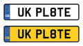 Uk number plate white and yellow Stock Image