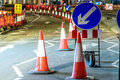 UK Road Services Roadworks Cones and Signs Royalty Free Stock Photo