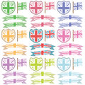 Uk shields and ribbons Royalty Free Stock Photo