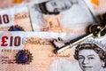 UK ten pound notes and house keys Royalty Free Stock Photo
