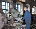 Ukraine anthracite may turner in the workplace ant antratsitovsky repair and engineering works lugansk region Stock Image