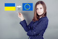 Ukraine and the eu girl with a flag of Royalty Free Stock Photo