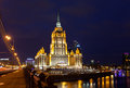 Ukraine hotel radisson royal hotel in night illumination the five star located the center of moscow Stock Photo