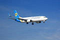 Ukraine international boeing a of airliners on final approach to land Royalty Free Stock Image