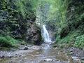 Ukraine the lost carpathian alpine waterfall on the river Stock Photo