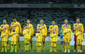 Ukraine national football team players listen the national anthe kyiv november and unidentified young footballers anthems before Royalty Free Stock Images