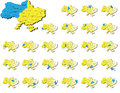 Ukraine provinces maps a set of icons Royalty Free Stock Photos
