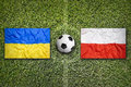 Ukraine vs. Poland on soccer field Royalty Free Stock Photo