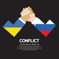 Ukraine vs russia arm wrestle illustration Stock Photo
