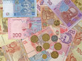 Ukrainian banknotes and coins. Royalty Free Stock Photo