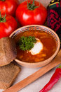 Ukrainian beetroot soup Stock Images