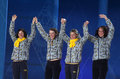 Ukrainian biathlon team sochi russia february during women s x km relay medal ceremony at sochi xxii olympic winter games Stock Photos