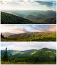Ukrainian carpathians view from mount serednya dawn in the gorgan ridge igrovische Stock Photo
