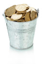 Ukrainian coins in bucket isolated on white background Royalty Free Stock Photo