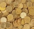 Ukrainian coins set of money bright background image Royalty Free Stock Photos