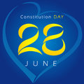 Ukrainian Constitution day vector greetings.