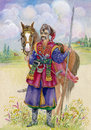 Ukrainian cossack horse around watercolor beautiful Stock Images