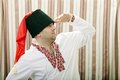 Ukrainian cossack in national clothes dress looking away Royalty Free Stock Photo