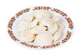 Ukrainian dumplings with cottage cheese on plate, isolated Royalty Free Stock Photo