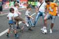 Ukrainian fans in euro kyiv ukraine boys play football kiev Royalty Free Stock Photos