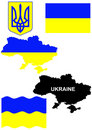 Ukrainian flag on country map illustration Royalty Free Stock Photos