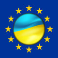 Ukrainian flag and european union Stock Photo