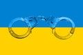 Ukrainian Flag and Handcuffs Royalty Free Stock Photo