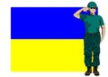 Ukrainian flag and soldier in uniform with Royalty Free Stock Image